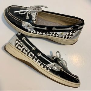 Sperry Leather Top Siders Boat Shoes Black White